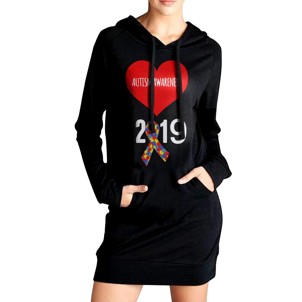 Sportswear with Pockets NVWEIYIJW Autism Awareness 2019 Womens EcoSmart Sweatshirt Long Hoodie Dress