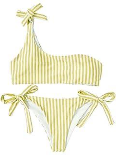 3a1a61e42b06 2 Piezas de Las Mujeres de un Solo Hombro Vendaje Stripe Bikini Ties ...