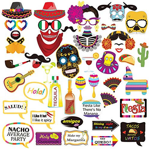 Mexican Fiesta Photo Booth Props,Funny Cinco De Mayo For Mexican Birthday Wedding Bachelorette Fiesta Themed Party Favors Supplies Decorations -