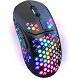 LED Wireless Mouse for Laptop,2.4G Rechargeable RGB Light up Cordless Mouse with USB&Type-c Receiver for PC Computer,Breathin