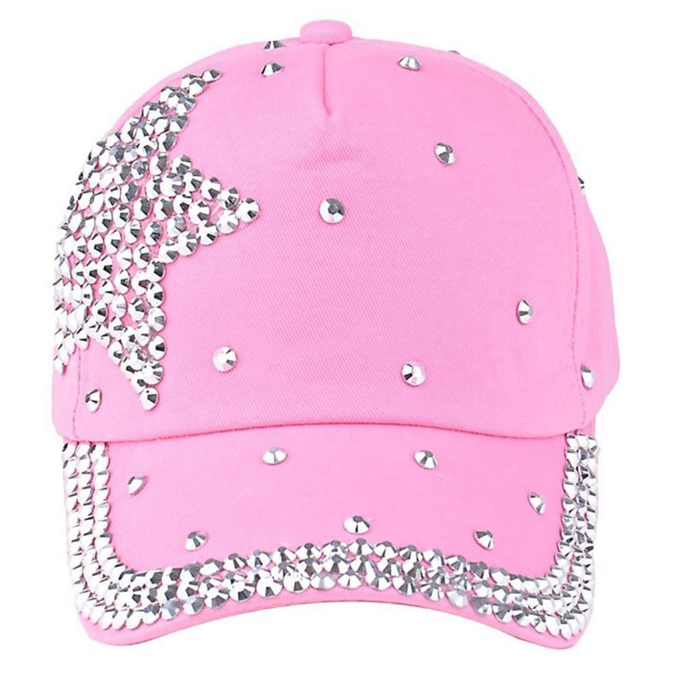 Tanhangguan Crystal Diamond Hat - New Fashion Baseball Cap Rhinestone Star Shaped Boys Girls Snapback Hat (Pink)