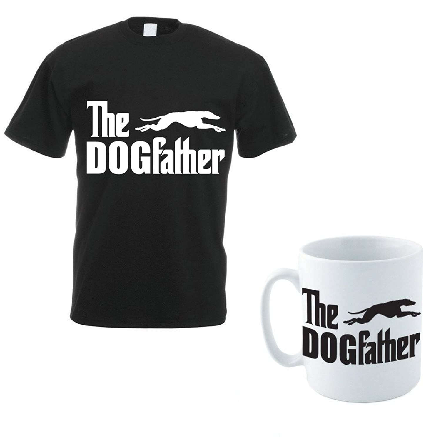 THE DOGFATHER - Greyhound / Lurcher / Funny / Gift Men's T-Shirt and Mug Set