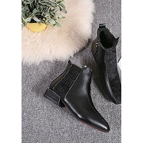 Black US6.5-7   EU37   UK4.5-5   CN37 Black US6.5-7   EU37   UK4.5-5   CN37 HSXZ Women's shoes PU Winter Comfort Fashion Boots Boots Low Heel Round Toe Booties Ankle Boots for Casual Black