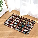 Library Decor Old Bookshelf with Hundreds of Books Bath Rugs Non-Slip Doormat Floor Entryways Indoor Front Door Mat Kids Bath Mat 15.7x23.6in Bathroom Accessories