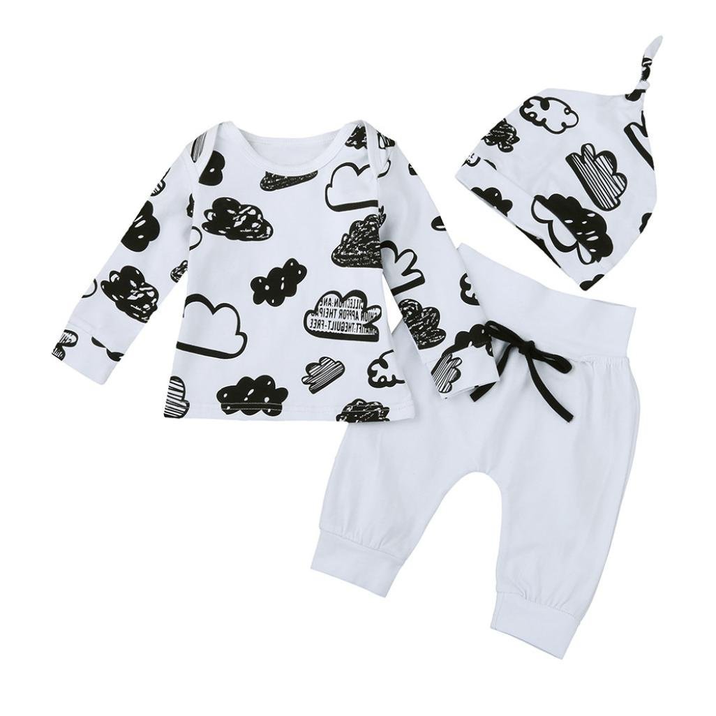 Newborn Infant Unisex Clothes Set HOMEBABY Baby Girl Boy Cloud Print T Shirt Tops+Pants Outfits