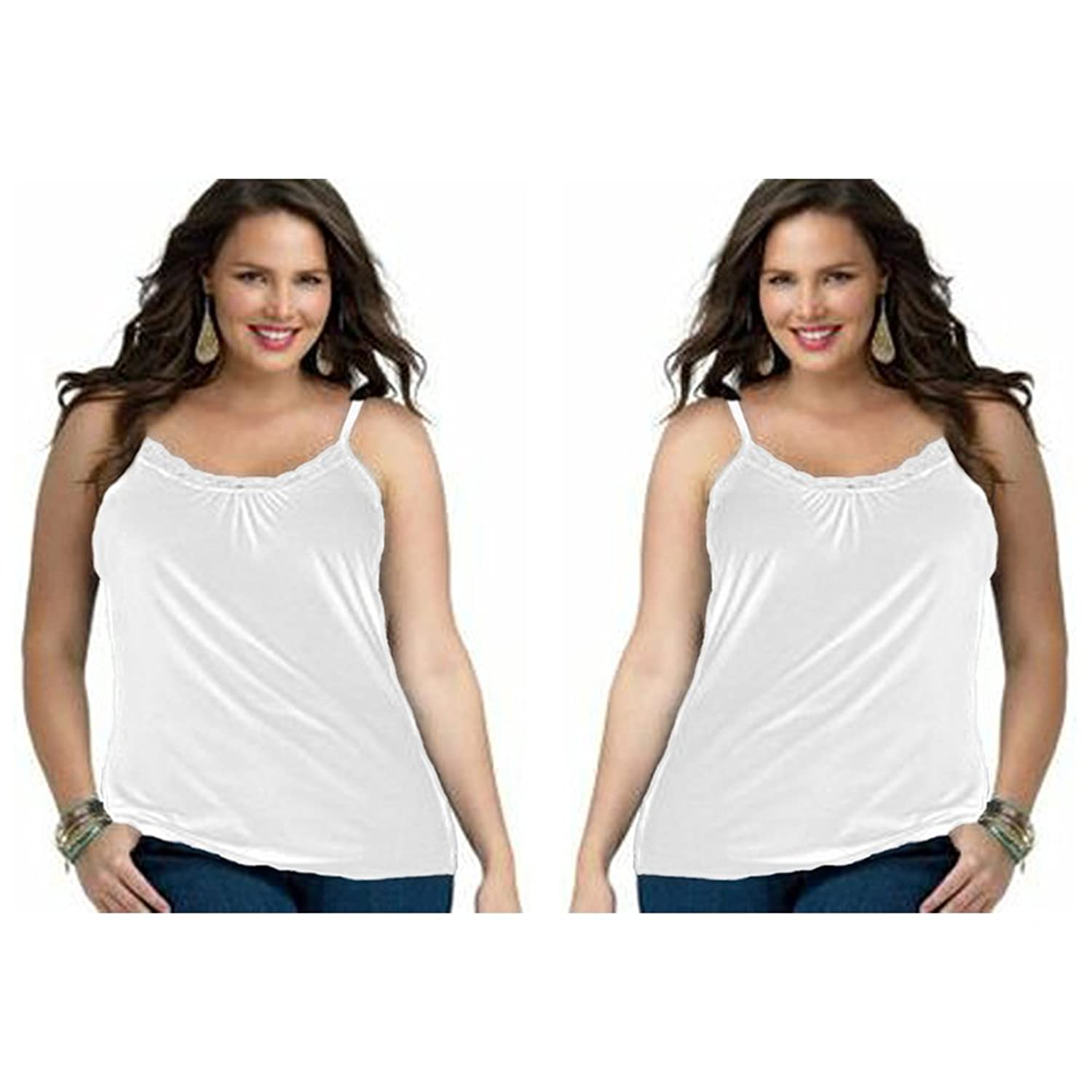 2-Pack Just My Size Plus Size Women's Lace Shirred Front Solid Tank Cami