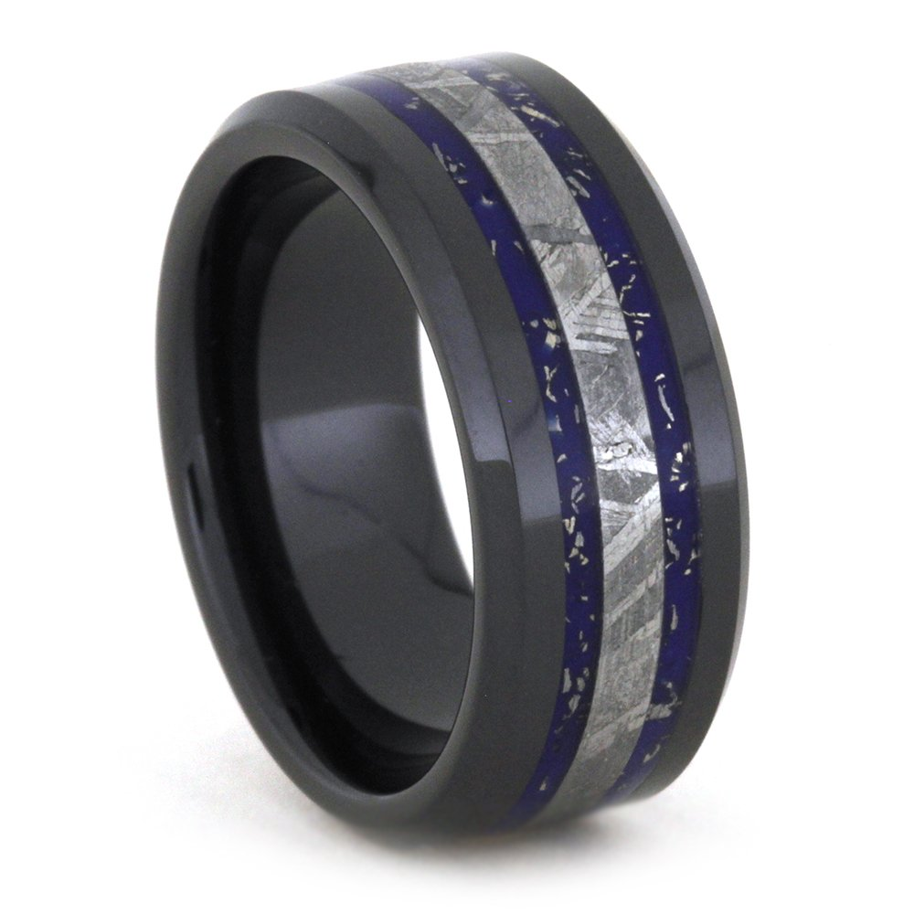 Blue and White Gold Stardust, Gibeon Meteorite 8mm Comfort-Fit Black Ceramic Wedding Band, Size 10.25