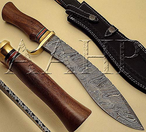 All About Handmade Products AAHP - 19, 15.5 Inches Kukri Knife with Approx 10 inch Blade Made of 100% Real Damascus Steel, Approx 5 inch Walnut Wood with Brass Rings & Pakka Wood Spacer's Handle ()