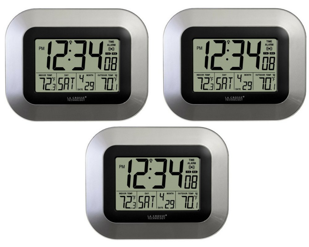 La Crosse Technology WS-8115U-S-INT Atomic Digital Wall Clock with Indoor and Outdoor Temperature (3 Pack)