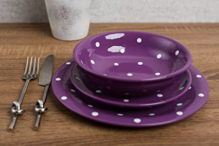 City to Cottage Purple And White Handmade Hand Painted Ceramic 12 piece Tableware Set | Polka & City to Cottage Purple And White Handmade Hand Painted Ceramic 12 ...