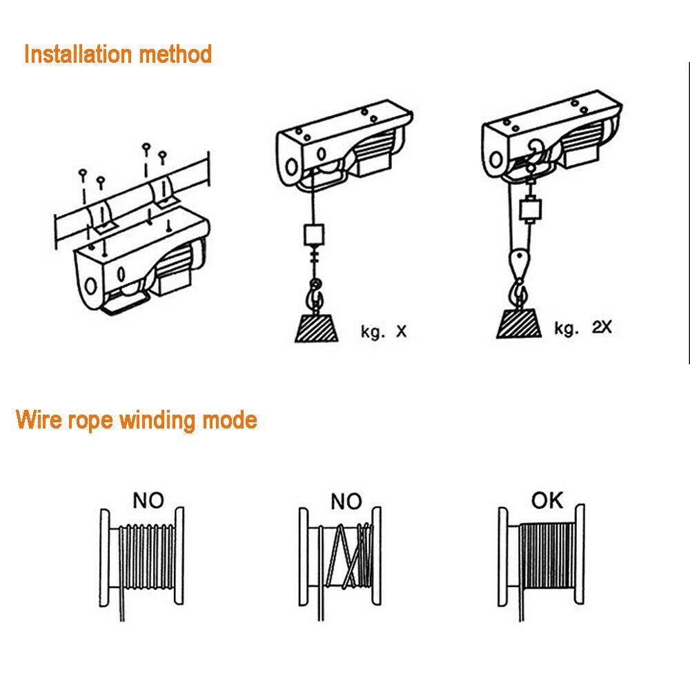Elektrische Seilwinde 100//200 kg Kabeldurchmesser 3 mm 510 W Seilwinde