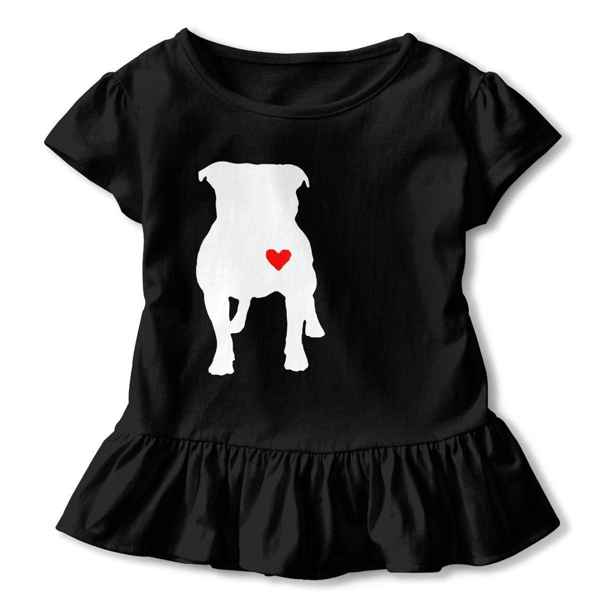 PMsunglasses Short-Sleeve Pitbull Heart T-Shirts for Kids 2-6T Ruffled Tunic Tops with Falbala