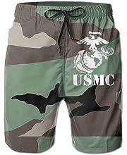 HANINPZ Proud American USMC Semper FI Mens Swim Trunks Army Green Beach Short Board Shorts