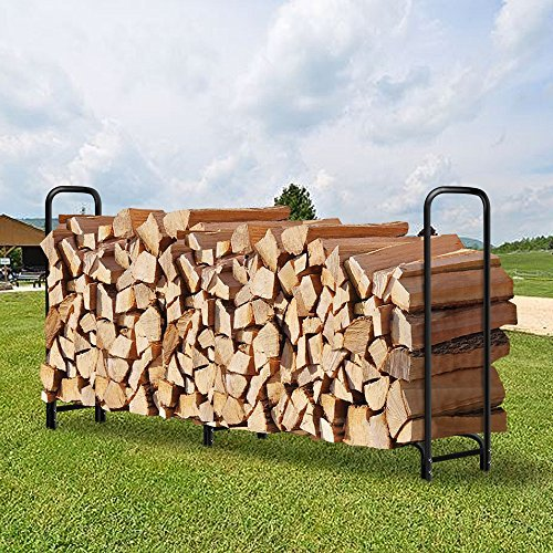 Amagabeli 8ft Outdoor Firewood Log Rack for Fireplace Heavy Duty Wood Stacking Holder for Patio Deck Metal Logs Storage Stand Steel Tubular Wood Pile Racks Outside Fire place Tools Accessories Black