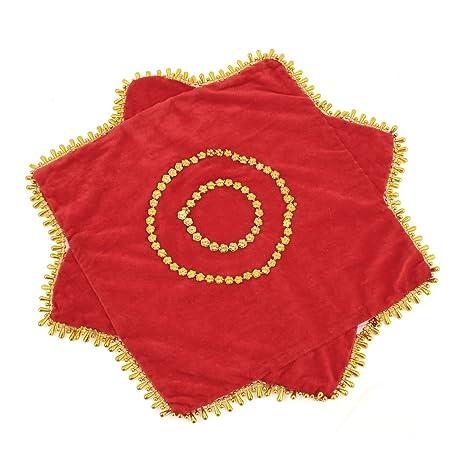 2 piezas de terciopelo rojo pañuelo lentejuelas decoración baile Octagonal toalla