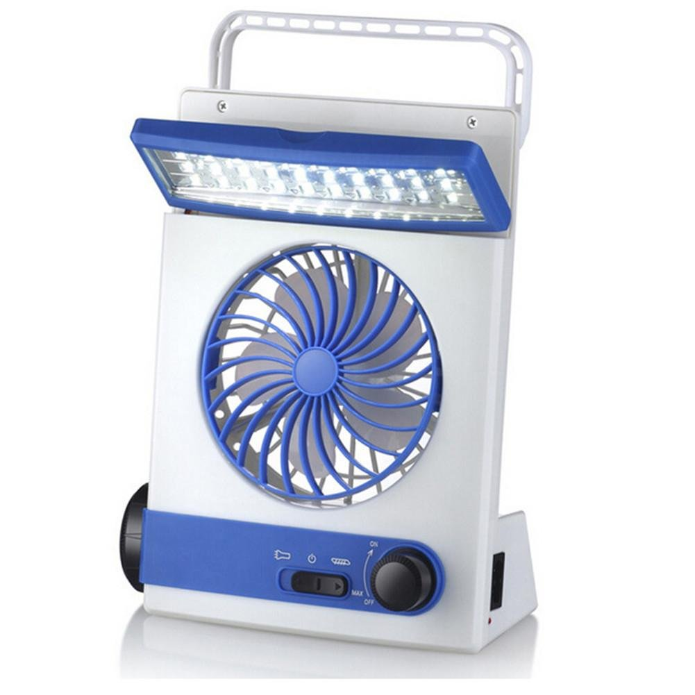 DMMSS Solar energy mechanical Mini fan 220v Charge fan camping Multifunction student Fan light , Blue