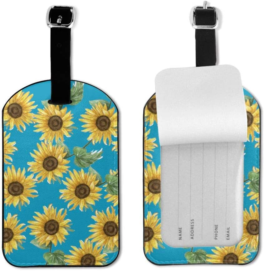 Vintage Shabby Chic Sunflowers Luggage Tag For Baggage Suitcase Bag Travel Id Label Leather 1 Piece