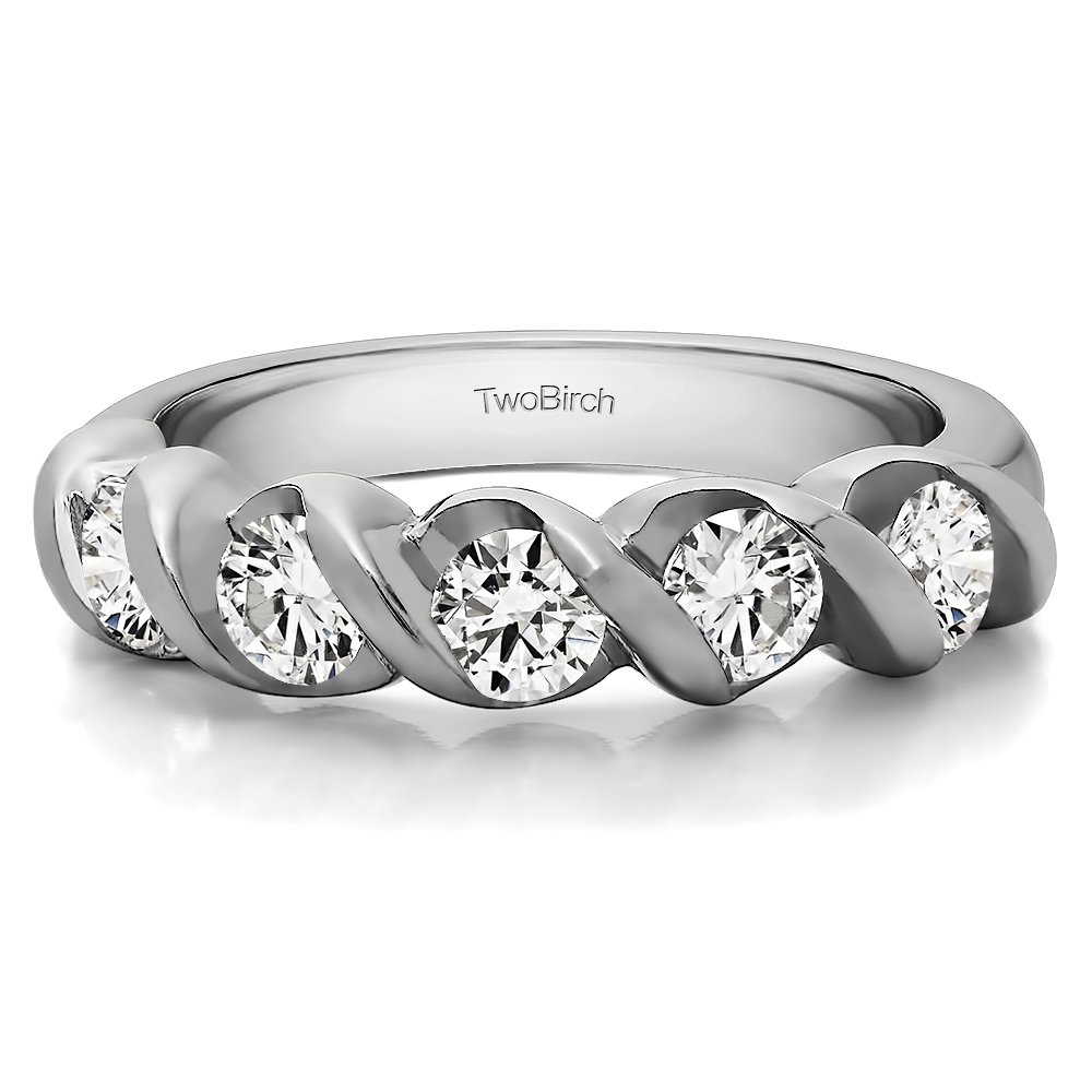 0.1Ct 5 Stone Swirl Set Wedding band in Silver Diamonds (G-H,I1-I2)(Size 3 to 15 in 1/4 Sizes)