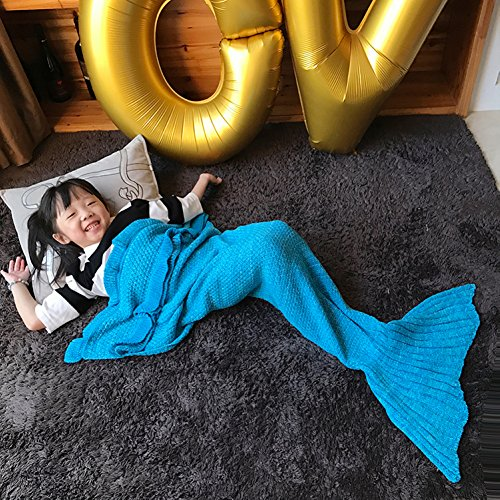 Blue Shark Power Ranger Costume (Handmade Mermaid Tail Blanket Crochet , Ibaby888 All Seasons Warm Knitted Bed Blanket Sofa Quilt Living Room Sleeping Bag for Kids and Adults(Kids / 55.1