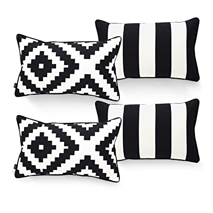 Tremendous Hofdeco Indoor Outdoor Lumbar Pillow Cover Only Water Resistant For Patio Lounge Sofa Black White Stripes Ikat 12X20 Set Of 4 Frankydiablos Diy Chair Ideas Frankydiabloscom