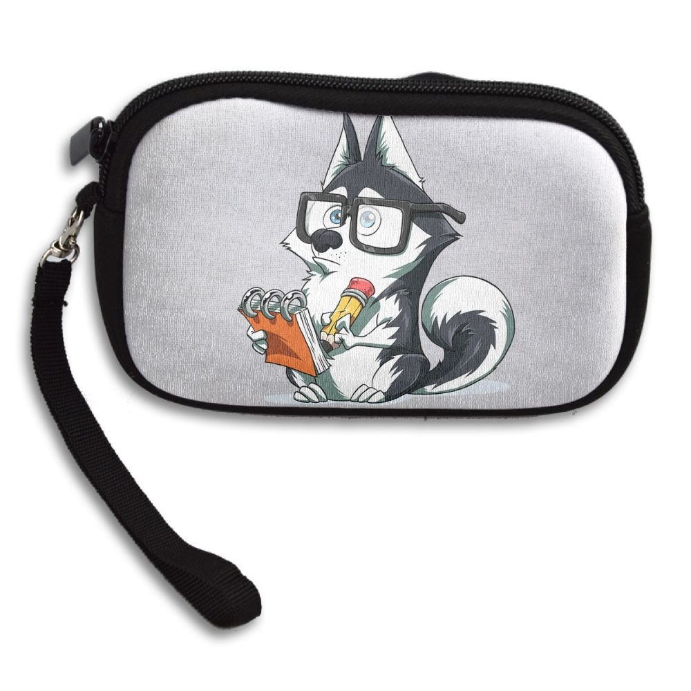 Cute Dog With Glasses Comfortable Coin Purse Storage Package Wallet Zipper Mini Wallet