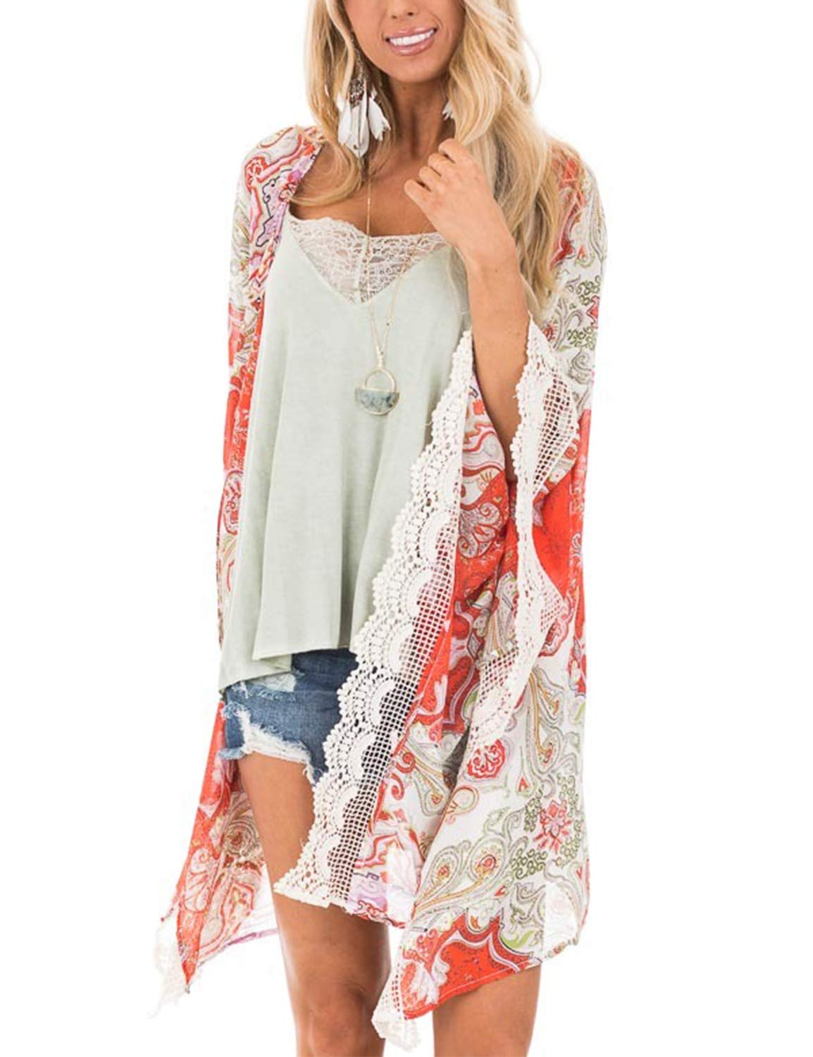 Women's Open Front Top Chiffon Floral Kimono Oversized Split Short Cover Ups