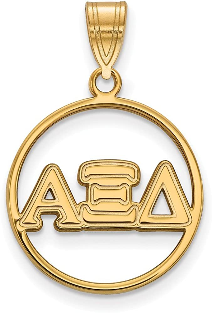25mm x 18mm 925 Sterling Silver Yellow Gold-Plated Official Alpha Xi Delta Medium Circle Pendant Charm