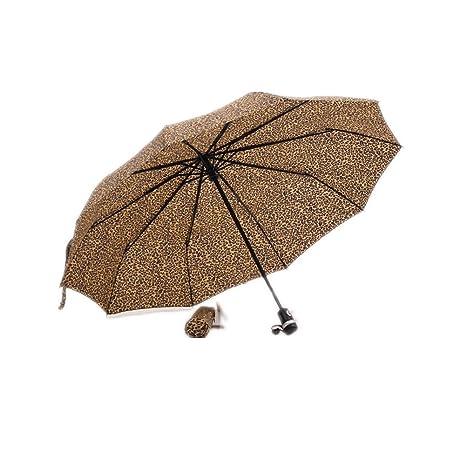 LuK aceite de leopardo automático paraguas de paraguas de cebra 3 Fold paraguas automático