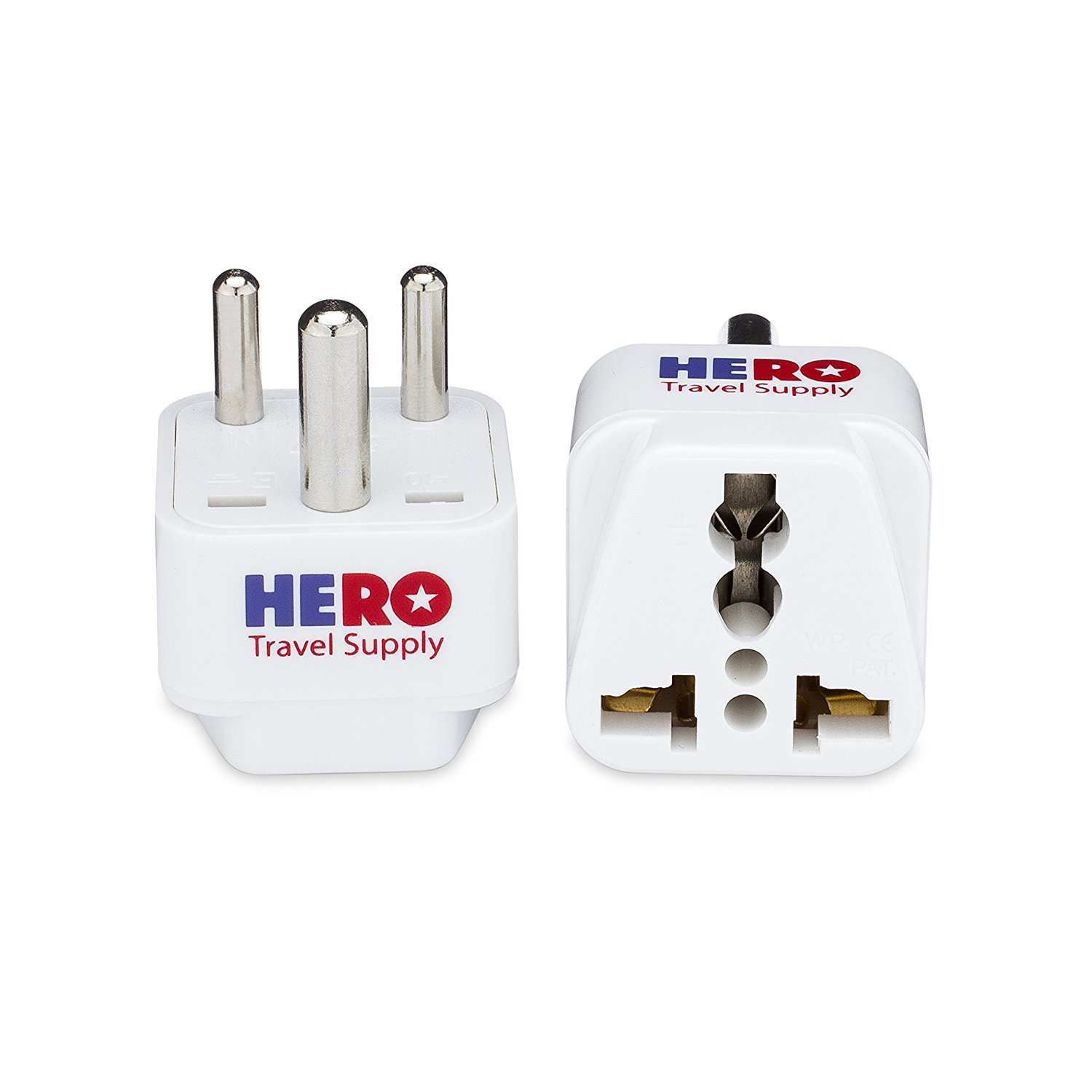 Type D, 3 Pack - Individually Tested in The USA by Hero Travel Supply Includes 2 Free India Ebooks /& Cotton Carry Bag Grounded White Premium US to India Power Adapter Plug