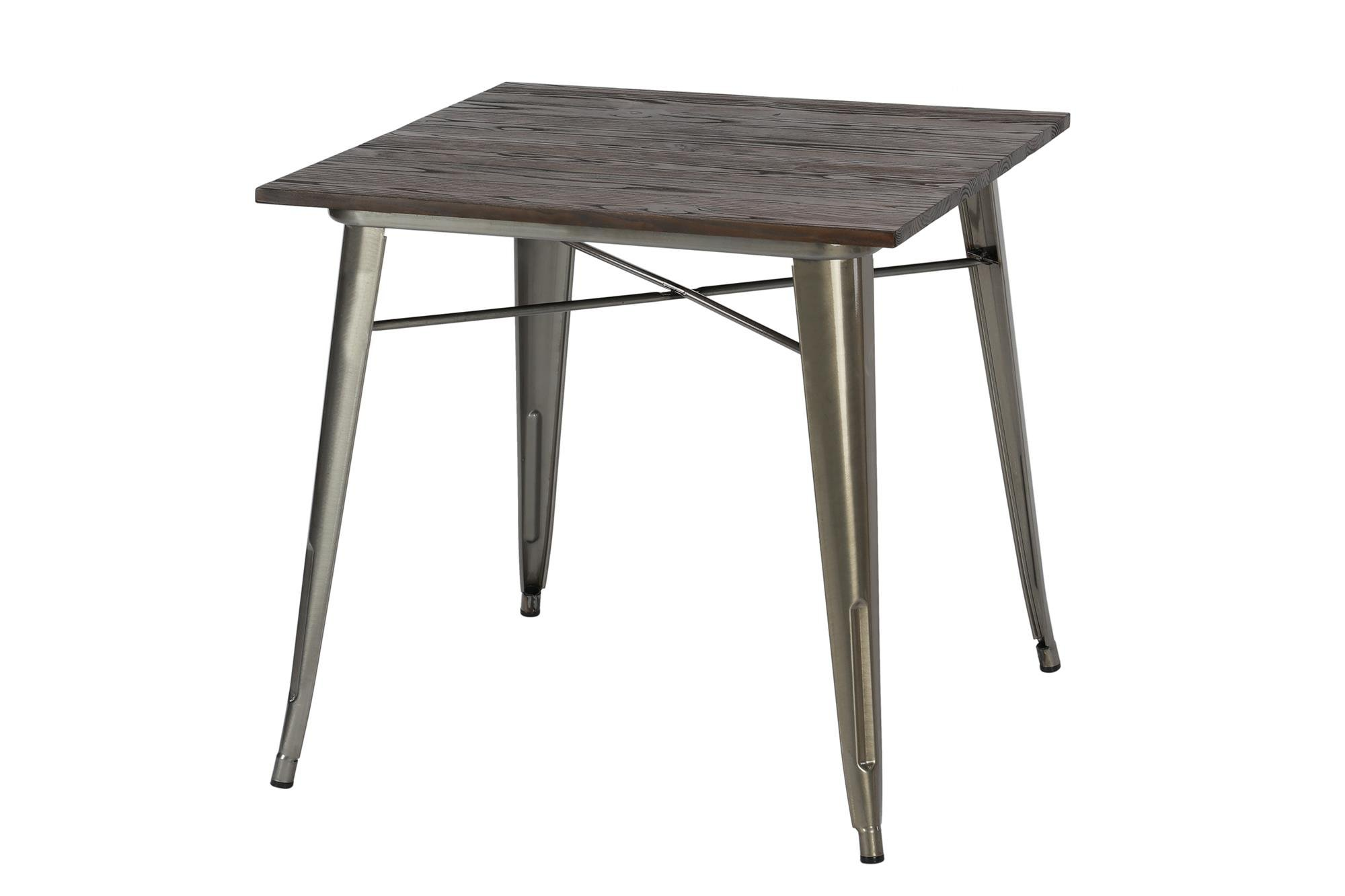 DHP Fusion Metal Square Dining Table with Wood Table Top, Distressed Metal Finish for Industrial Appeal, Antique Gun Metal by DHP