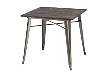 DHP Fusion Square Dining Table, Antique Gun Metal/Wood