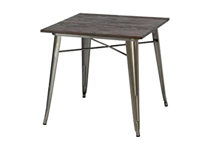 Image Unavailable  sc 1 st  Amazon.com & Amazon.com: DHP Fusion Metal Square Dining Table with Wood Table Top ...
