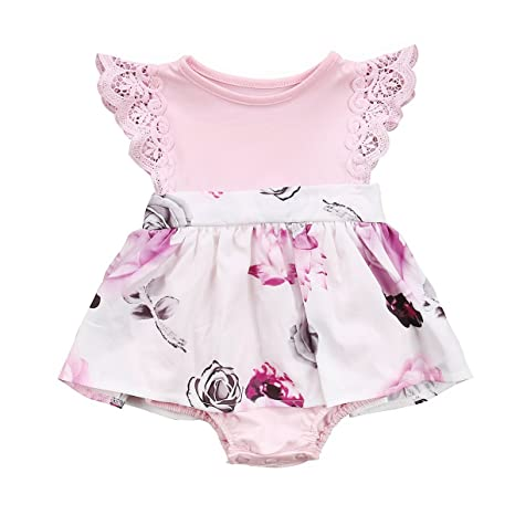 f35e45cb922 Big Sister Little Sister Floral Matching Clothing Lace Ruffle Sleeve  Romper  Dress Outfit Family Clothing (0-6 Months  Amazon.in  Baby