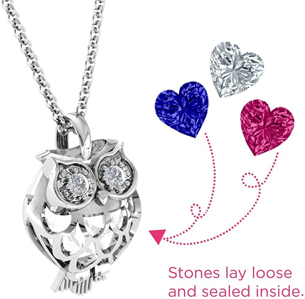 Sterling Silver Wise Owl Pendant with Personalized Birthstone by JEWLR