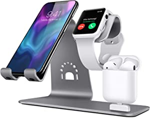 Bestand 3 in 1 Stand Holder for iPhone Mobile Phone iWatch and Charging Stand for Airpods Only, Grey (Patented, Airpods Charging Case NOT Contained)