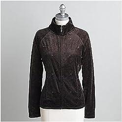 d94332303e Laura Scott Women s Sequined Velour Track Jacket