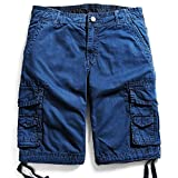Men's Cotton Cargo Shorts Elastic Waist Loose Fit Pants Boys Summer Outdoor (32,Dark Blue)