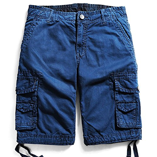 Men's Cotton Cargo Shorts Elastic Waist Loose Fit Pants Boys Summer Outdoor (32,Dark Blue) by MOACC (Image #7)