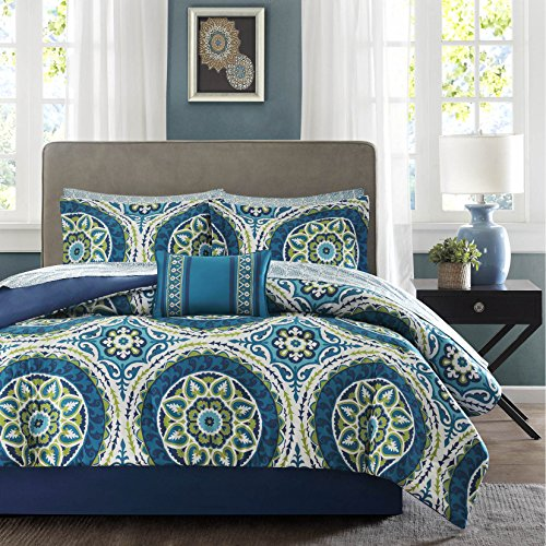 Classic Contemporary Bedroom (9 Piece Boys Blue Teal Medallion Floral Comforter Full Set, Lime Green White Flowers Printed Adults Bedding Master Bedroom Contemporary Gorgeous Luxurious Classic Durable, Microfiber)