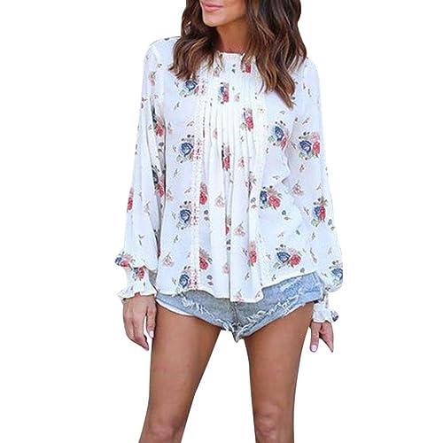 Mujer camisa de manga larga, Yannerr ocio moda otoño Chifón floral señoras suelta blusa tops