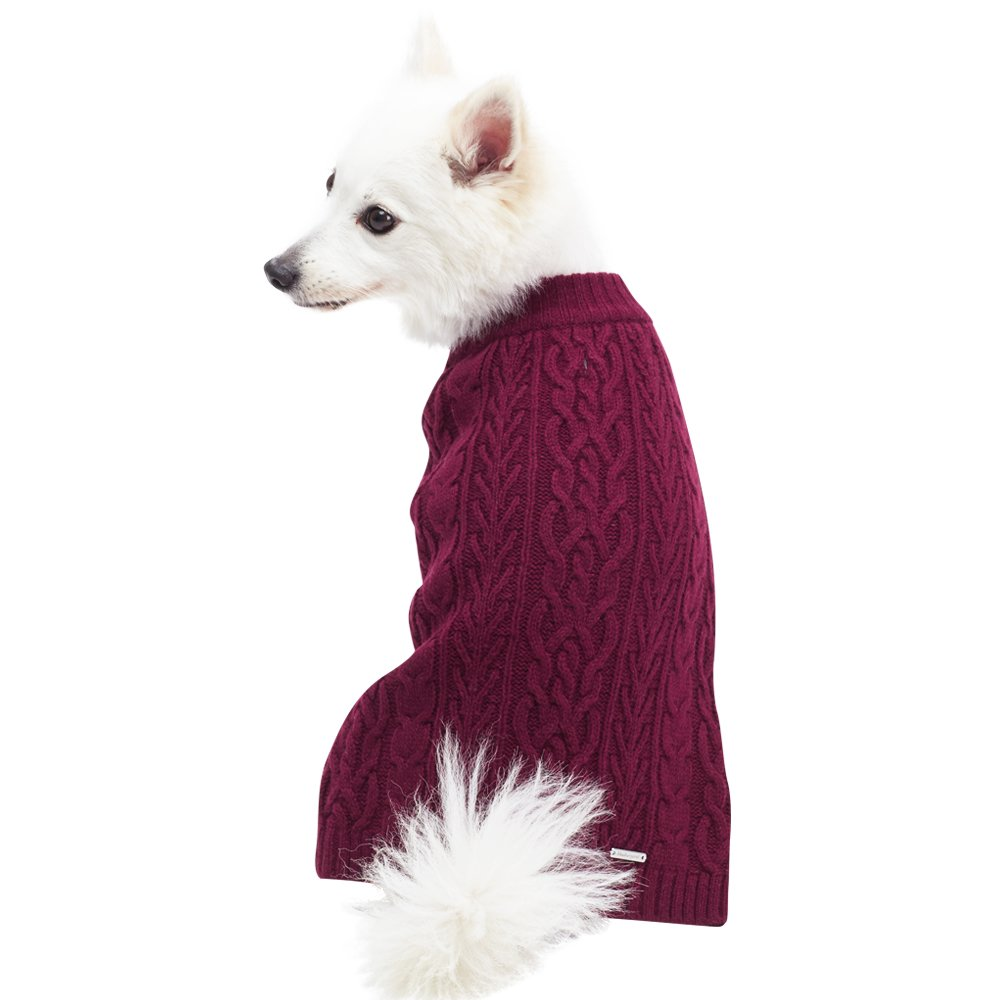 Blueberry Pet 16 Colors Classic Wool Blend Cable Knit Pullover Dog Sweater in Burgundy, Back Length 14'', Pack of 1 Clothes for Dogs