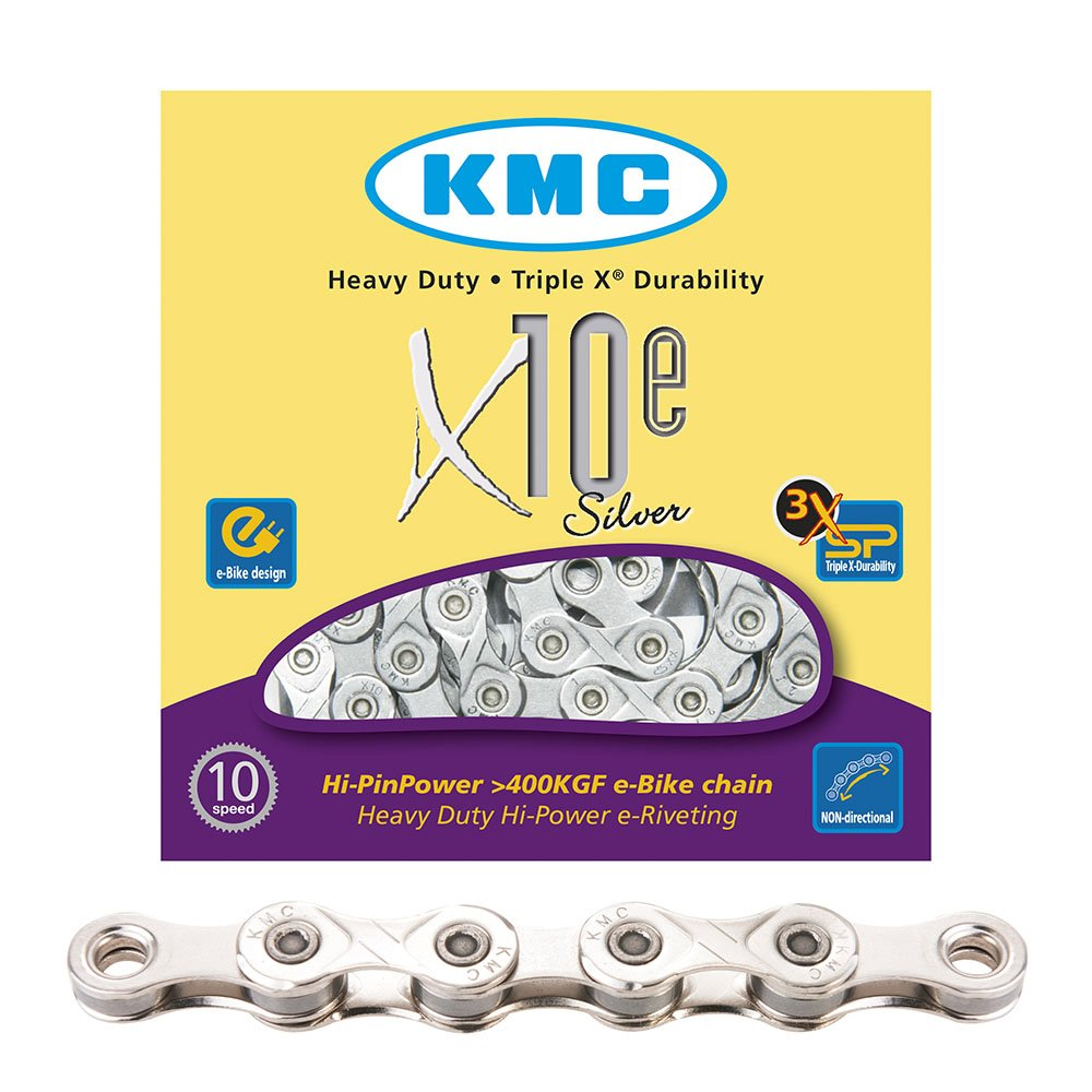 KMC Chain Europe X-10 Cadena, E-Bike, 114 Pasos, Plata 13010941