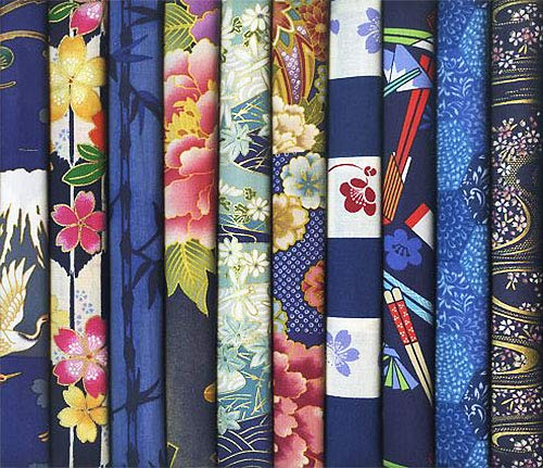 10 Blue Asian Japanese Fat Quarter Quilt Fabric Bundle #17 (2 1/2 Yards Total)