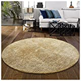 Superior Hand Tufted Thick, Plush, Cozy Quality Shag Textured Area Rugs, Beige - 4' Round