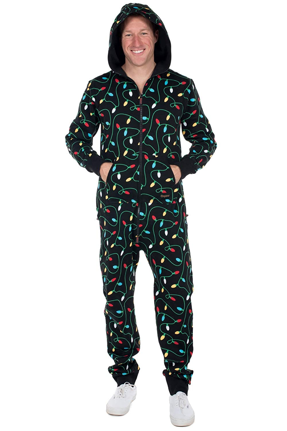 Christmas Jumpsuit Womens.Tipsy Elves Women S And Men S Unisex Black Christmas Lights Jumpsuit Ugly Christmas Sweater Party Adult Onesie
