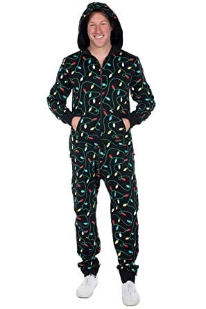 476f5b022 Tipsy Elves Black String of Christmas Lights Jumpsuit - Ugly Christmas  Sweater Party Adult Onesie:
