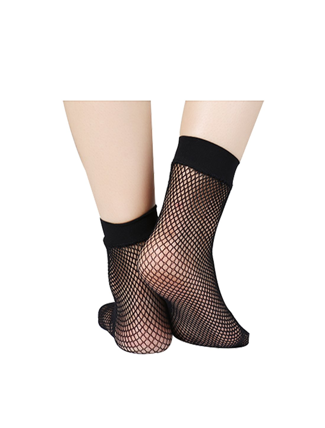 uxcell Women 10 Pairs Trendy Fishnet Ankle High Lace Small Net Short Socks Black