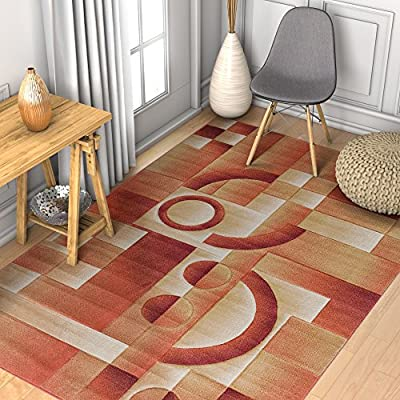 Primo Shapes Orange Modern Geometric Boxes Lines Hand Carved Modern Area Rug Easy to Clean Stain Fade Resistant Contemporary Thick Soft Plush