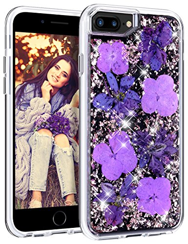 HoneyAKE Case for iPhone 7 Plus iPhone 8 Plus Case Glitter Cute Pretty Girly Case with Natural Flower Durable Shockproof Hard PC Cover Flexible TPU Frame for iPhone 6 Plus 6s Plus 7 Plus 8 Plus,Purple