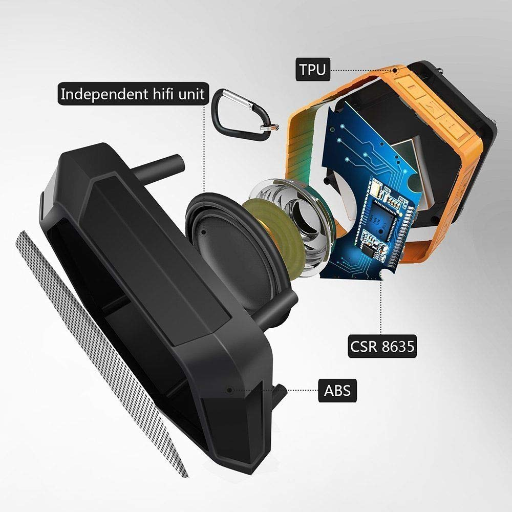 RONSHIN Bluetooth Speakers,IP65X Waterproof Bluetooth Speaker Shower Outdoor Bathroom Portable Wireless Loud Speaker Green by RONSHIN